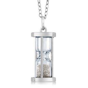 Jewelry - 925 Silver Hourglass Pendant 0.50 Ct Diamond Dust